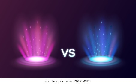 Realistic radiant magic portals pink vs blue with light effects on black background vector illustration