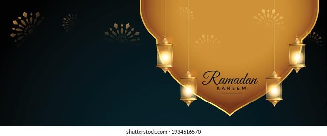 realistic ramadan kareem golden banner with hanging lanterns