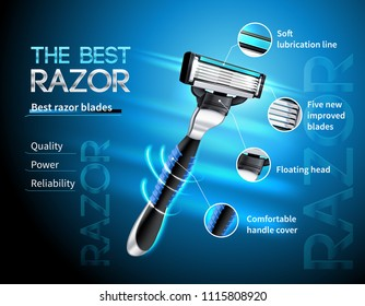 Realistic razor with five blades and floating head advertising poster on gradient blue background vector illustration