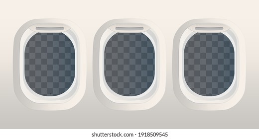 Realistic rectangular portholes with transparent glass. Airplane and space shuttle window. Vector illustration