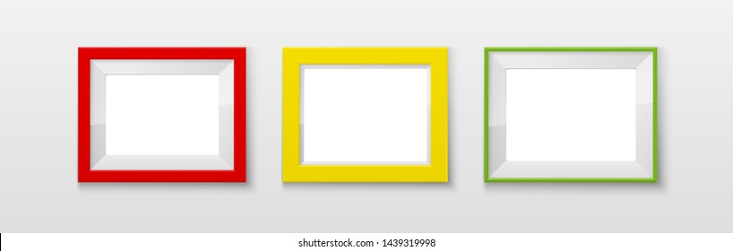 Realistic Rectangular red green blue yellow Colors Blank Picture Frame A3, A4 sizes, hanging on a White Wall from the Front. illustration Empty Frame with Shiny Glass. Design Template for Mock Up Set