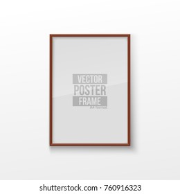 Realistic Rectangular Square Brown Color Blank Picture Frame A3, A4 sizes, hanging on a White Wall from the Front. Vector illustration Empty Frame with Shiny Glass. Design Template for Mock Up.