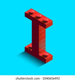 Realistic red 3d isometric letter I of the alphabet from constructor lego bricks. Red 3d isometric plastic letter from the lego building blocks. Lego letters. 3d letters