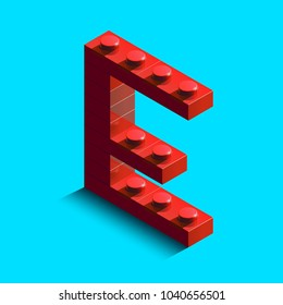 Realistic red 3d isometric letter E of the alphabet from constructor lego bricks. Red 3d isometric plastic letter from the lego building blocks. Lego letters. 3d letters