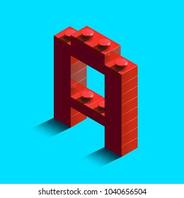 Realistic red 3d isometric letter A of the alphabet from constructor lego bricks. Red 3d isometric plastic letter from the lego building blocks. Lego letters. 3d letters