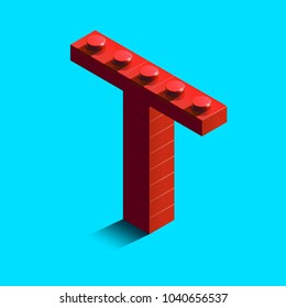 Realistic red 3d isometric letter T of the alphabet from constructor lego bricks. Red 3d isometric plastic letter from the lego building blocks. Lego letters. 3d letters