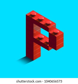 Realistic red 3d isometric letter P of the alphabet from constructor lego bricks. Red 3d isometric plastic letter from the lego building blocks. Lego letters. 3d letters