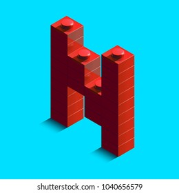 Realistic red 3d isometric letter N of the alphabet from constructor lego bricks. Red 3d isometric plastic letter from the lego building blocks. Lego letters. 3d letters