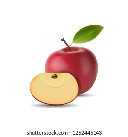 realistic red apple with green leaf and slice isolated on white background. vector illustrations