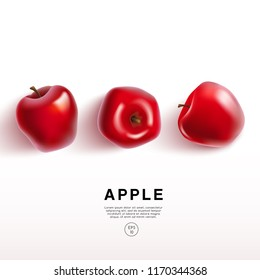 Realistic Red Apple on White Background : Vector Illustration