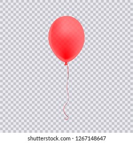 Realistic red balloon isolated on transparent background. Vector illustration.
