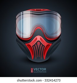 Realistic red and black paintball mask with transparent goggles on dark blue gradient background. RGB EPS 10 vector illustration