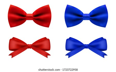 Realistic red and blue bow for decoration gifts, greetings, holidays. Stock vector illustration isolated on white background.