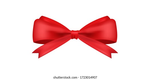 Realistic red bow for decoration gifts, greetings, holidays. Stock vector illustration isolated on white background.