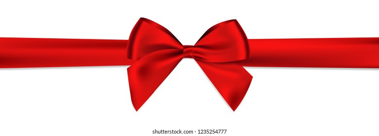Realistic Red bow and horizontal ribbon shiny satin with shadow for decorate your christmas card or gift card vector EPS10 isolated on white background.