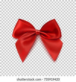 Realistic red bow isolated on transparent background. Vector illustration.