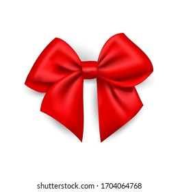 Realistic red bow made of satin ribbon, Vector isolated bow for the design of compositions, illustration. Use it as a clipart on a white or transparent background