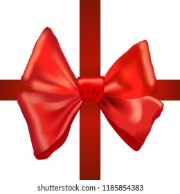 Realistic red bow and ribbon isolated on white background. Vector illustration.