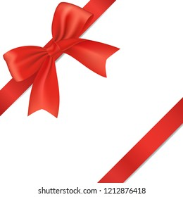 Realistic red bow with ribbon, isolated on white background.