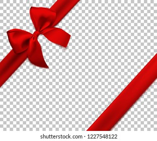 Realistic red bow and ribbon isolated on transparent background. Template for brochure or greeting card. Vector illustration.