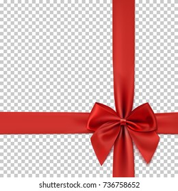 Realistic red bow and ribbon isolated on transparent background. Template for greeting card, poster or brochure. Vector illustration.