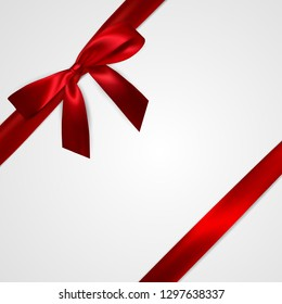 Realistic red bow with red ribbons isolated on white. Element for decoration gifts, greetings, holidays. Vector illustration.