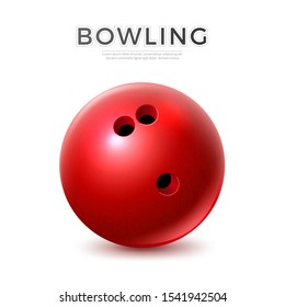 Realistic red bowling ball with holes for fingers. Vector bolwing competition and tournament design element. Sphere sport equipment.