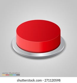 Realistic red button on white background. Vector illustration