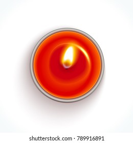 Realistic red candle in metal case isolated on white background. Table top view. Template for greeting card, invitation and various design products. Vector illustration