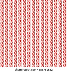 Realistic red candy canes. Seamless pattern