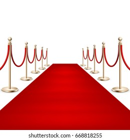 Realistic Red carpet between rope barriers on ceremonial vip event. Isolated on white. And also includes EPS 10 vector