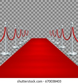 Realistic Red carpet between rope barriers on ceremonial vip event. Isolated on transparent backround. And also includes EPS 10 vector