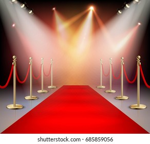 Realistic red carpet in illumination composition event or award ceremony for the stars vector illustration