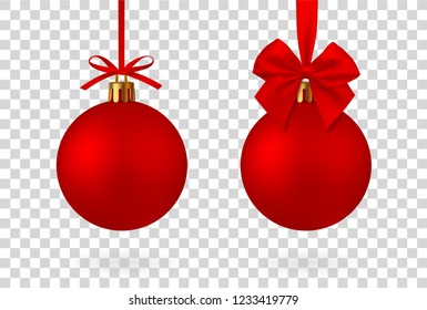 Realistic Red Christmas ball with ribbon and bow, isolated on white background - stock vector.