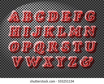 Realistic red color glass alphabet font with transparency and shadows. 3D bulb isolated letters and numbers
