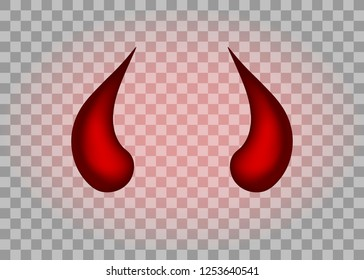 Realistic red devil horns set. Isolated on transparent background. Vector illustration, eps 10.