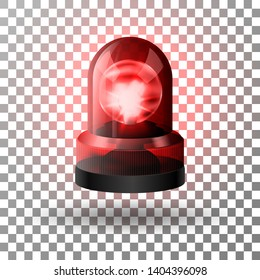 Realistic red flasher siren for cars. Emergency flashing siren. Vector illustration.