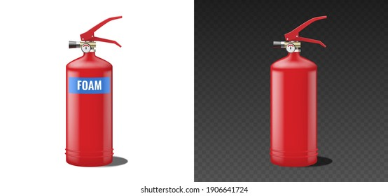 Realistic red foam fire extinguisher. Portable fire extinguishing equipment with label and empty isolated on white and black background. Vector illustration