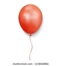 Realistic Red glossy balloon on white background. vector illustration