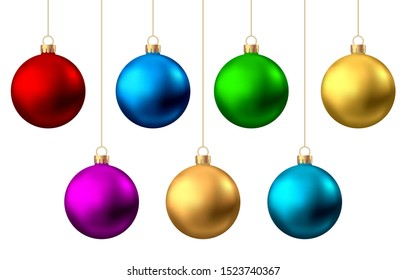Realistic  red, gold, silver, blue, green, pink, purple  Christmas  balls  isolated on white background. Vector  Xmas  tree decoration.