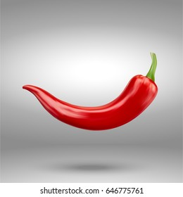 realistic Red hot natural chili pepper, isolated image with shadow vector illustration