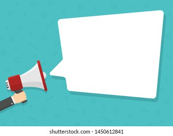 realistic red megaphone in hand with place for text in white dialog speech bubble vector illustration. loudspeaker for advertising, promotions, sales, messages. flat illustration on green background