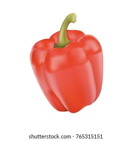Realistic Red pepper is natural. 3D red pepper vegetable. Pepper for the farm market, prescription recipe for vegetarian salads. Red natural pepper pod realistic image vector illustration.