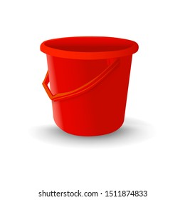 Realistic Red plastic bucket for washing food, water and drink. Household chores pail. Vector illustration