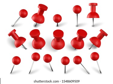 Realistic red push pins. Attach buttons on needles, pinned office thumbtack and paper push pin vector set. Stationery items. Paperwork equipment. Collection of secretary accessories on white