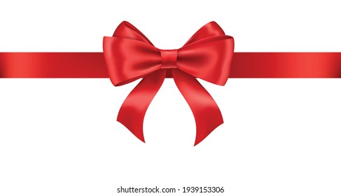 Realistic red ribbon and bow isolated on white