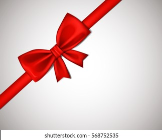 Realistic Red ribbon bow isolated on white background. Vector illustration.