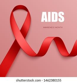 Realistic red ribbon. Symbol of AIDS, blood cancer, cardiomyopathy, hemophilia awareness