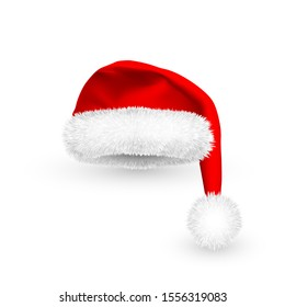 Realistic Red Santa Claus hat isolated on white background. Gradient mesh Santa Claus cap with fur. Vector illustration.