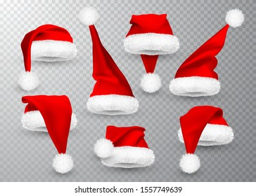 Realistic Red Santa Claus hat isolated on gray transparent background. Gradient mesh Santa Claus cap with fur. Vector illustration.